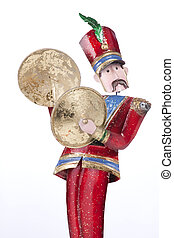 Toy Soldier Playing Cymbals Isolated - A toy Christmas...