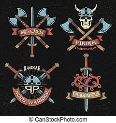 Print - Scandinavian vikings logo set. Emblems with viking...