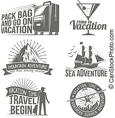Print - Vacation, Adventure logos set of logos in in style...