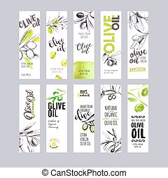 Set of olive oil Hand drawn vector illustration templates...
