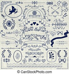 Vector Pen Drawing Rustic Floral Design Elements - Vector...