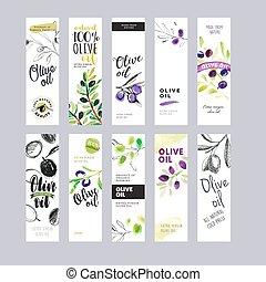 Set of olive oil labels. Hand drawn vector illustration...