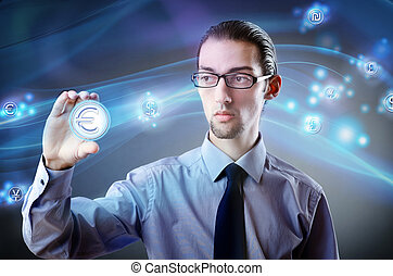 Man pressing buttons with euro currency