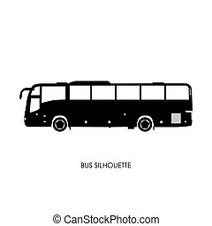 Bus black silhouette on a white background.