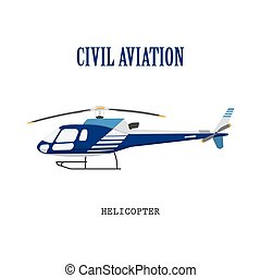 Figure civilian helicopter in flat style. Vector...