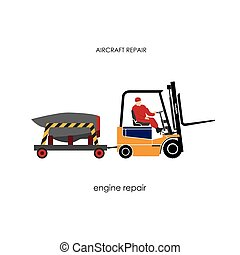 Forklift transporting engine aircraft for repair.