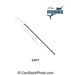 Fishing gaff. Item of fishing. Vector illustration