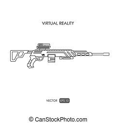 Sniper rifle Gun for virtual reality system Video game...