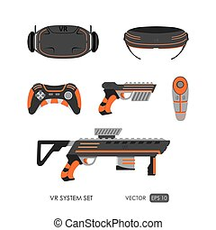 Set of accessories for virtual reality system on white...