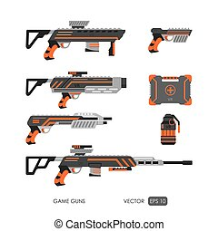 Guns for virtual reality system Video game weapons set Video...