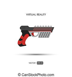 Gun for virtual reality system Game weapons Vector...