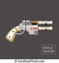 Video game weapon. - Star guns. Video game weapon. Virtual...