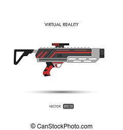 Missile. Gun for virtual reality system. Video game weapons....