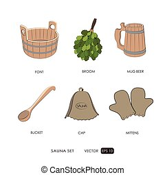 Sauna set. Sauna accessories on a white background. Bath...