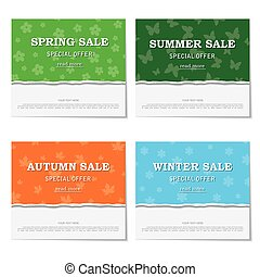 Set of seasonal posters for discounts