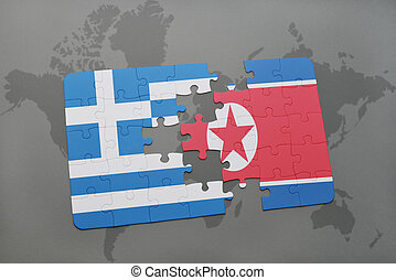 puzzle with the national flag of greece and north korea on a...
