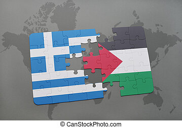 puzzle with the national flag of greece and palestine on a...