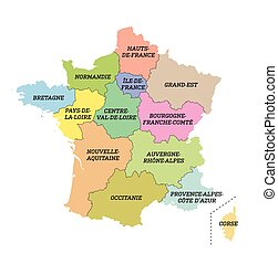France metropolitan map - Vector illustration of France...