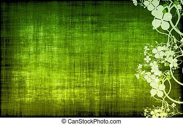 Green Grunge Design Texture with Flower Vines