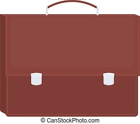 Brown briefcase icon vector - Brown isolated diplomat or...