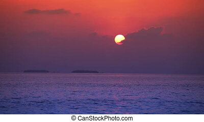Bright sunset over the sea ,