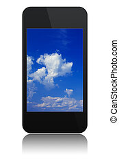 modern touchscreen phone with sky on screen