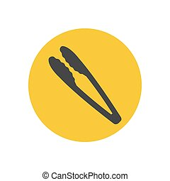 Kitchen tongs silhouette on the yellow background. Vector...