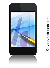 modern phone with chart and pen on screen isolated