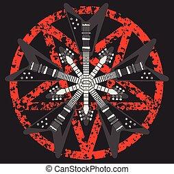 Guitar and Pentagram vector design - Heavy metal guitar and...