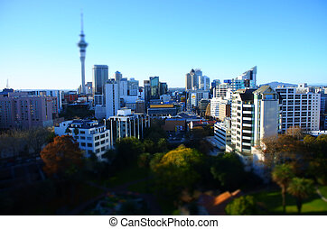 Aerial view of Auckland CBD skyline with tilt shift effect