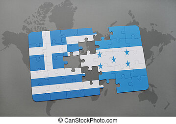 puzzle with the national flag of greece and honduras on a...