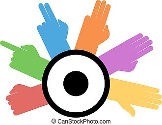 colorful counting hands icon - Creative design of colorful...