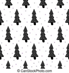 pine trees pattern - vector seamless pattern with...