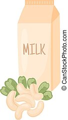 cashew milk - vector illustration of cashew nuts with leaves...