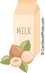 hazelnut milk - vector illustration of hazelnuts and milk...