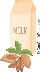 pecan milk - vector illustration of pecan nuts and leaves on...