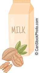 walnut milk - vector illustration of walnut with leaves and...