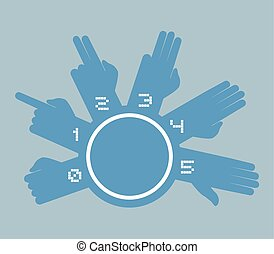 imaginative counting hands symbol - Creative design of...