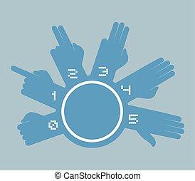 imaginative counting hands symbol - Creative design of...