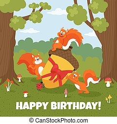 squirrels - vector illustration of cute squirrels in the...
