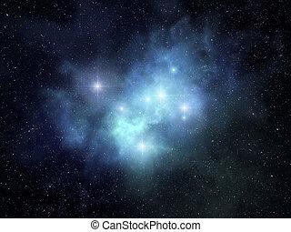 Fanciful nebula - Fancy looking nebula glowing among bright...