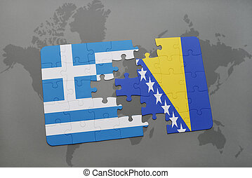 puzzle with the national flag of greece and bosnia and...