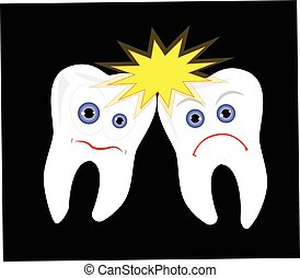 Teeth fighting with each other, tooth big bang vector...