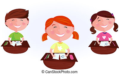 Cartoon kids in classroom - School is fun! Happy Boy and two...