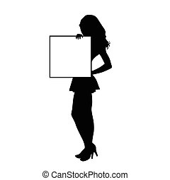 girl with board empty art silhouette illustration