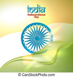 Indian Independence Day concept background with Ashoka wheel...