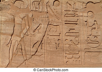 hieroglyphics, och, tempel, avbildar, In