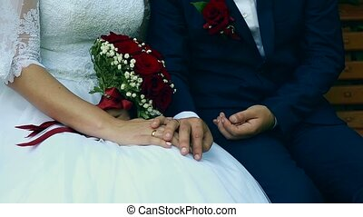 Bride and groom holding hands Ukraine