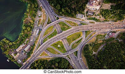 Aerial view of highway interchange. Paton Bridge. Kiev,...
