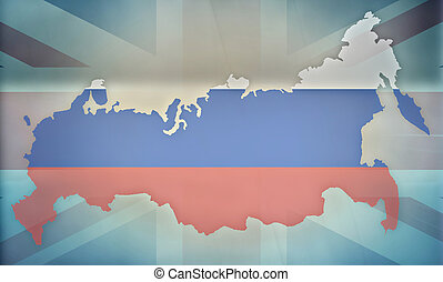 russia UK states government outline modern map regular...